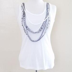 Jodi Arnold Sleeveless Top. Multi-Layer Necklace